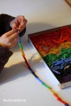 rainbow craft threading necklace