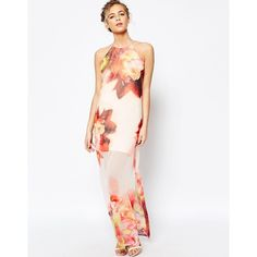 Coast Erin Print Maxi Dress in Bright Floral ($154) ❤ liked on Polyvore featuring dresses, multi, tall maxi dresses, high neck maxi dress, tall dresses, floral print dress and keyhole dress