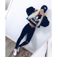 All black adidas outfit Teenage Outfits, Sporty Outfits, Swag Outfits, Outfits For Teens, Trendy Outfits, Fall Outfits, Cute Addidas Outfits, Adidas Shoes Outfit, Adidas Superstar Outfit
