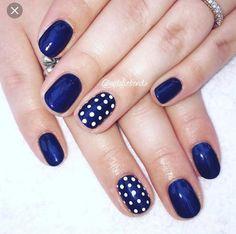 This-colour-nails-nailpic-nailart-biosculpture-bionails-gelnails-nailtech-job-wo. Stylish Nails, Trendy Nails, Dot Nail Designs, Nails Design, Fancy Nails, Diy Nails, Blue Shellac Nails, Polka Dot Nails, Polka Dots