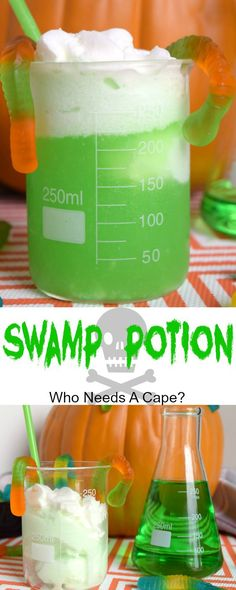 Whip up some Swamp Potion for Halloween parties! Non-alcoholic and so much fun! … Whip up some Swamp Potion for Halloween parties! Non-alcoholic and so much fun! Kids and adults love the way it looks and tastes! Who Needs A Cape? Halloween Cupcakes, Punch Halloween, Cocktails Halloween, Halloween Drinks Kids, Dessert Halloween, Soirée Halloween, Halloween Dinner, Halloween Food For Party, Halloween Treats