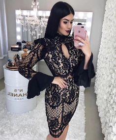 Indressme 2019 Hottest New Arrival Long Sleeve Hollow Out Girls Bandage Bodysuit Women's Clothing