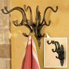 Victoriana Iron Coat Hook - 5-prong, 15-hook coat rack ~ love how versatile it is, from accommodating 15, to 3...