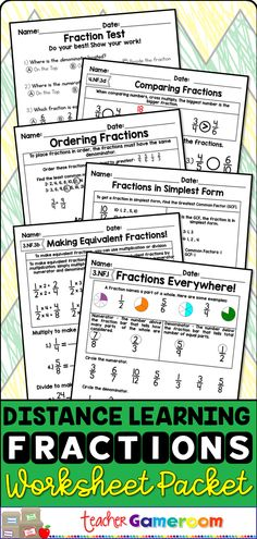 Fractions worksheets that teach fractions. Goof practice for 3rd grade students. Great for distance learning. Learning Games, Learning Resources, Teacher Resources, Teaching Ideas, The New School, New School Year, Going Back To School, Teaching Fractions, Fractions Worksheets