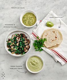 tomatillo enchiladas with cashew poblano crema #vegan #glutenfree