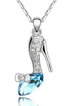Sparkling Blue Crystal Heel Necklace.  This would be awesome for a bridesmaid gift!