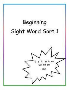 This activity is perfect for students just learning to read.  It includes beginning sight words, a, I, it, is, in, to, the, we, no, go. The activity only requires basic sorting skills.The cards are simple with no visual distractions. They allow for students to practice reading different font.