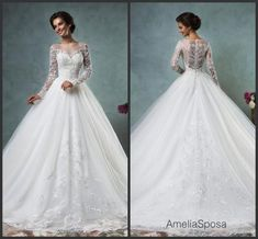 Free shipping, $128.17/Piece:buy wholesale Elegant White Lace Wedding Dresses Long Sleeve Sheer 2016 Amelia Sposa Chapel Train A-Line vestido de novia Vintage Bridal Gowns Ball Custom2016 Spring Summer,Reference Images,Tulle on hjklp88's Store from DHgate.com, get worldwide delivery and buyer protection service.