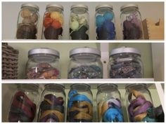 From buttons to baubles to yarn scraps and more – BURKEN jars keep your bits and bobs on display, but dust-free! ~ My favorite jars~