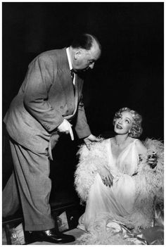 Alfred Hitchcock & Marlene Dietrich on the set ofStage Fright (1959)