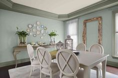 Wythe Blue Color Trends 2012 - Paint Color Trends for 2012 by Benjamin Moore Dining Room Blue, Dining Room Design, Dining Room Furniture, Wooden Furniture, Dining Chairs, Dining Area, Dining Rooms, Furniture Design, Benjamin Moore Colors