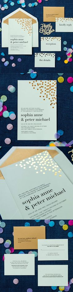 Spec #foil #wedding #invitation by @engagingpapers. The Sophia collection features a metallic gold #confetti foil-stamped design. The invitation is 2 ply thick and features a back pocket to hold all of the enclosure cards. This suite is Luxepress printed in classic black ink on colored matte cardstock.