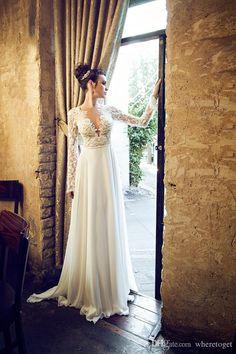 Deep V Neck Full Sleeve Lace Backless Vintage Beach Wedding Dresses With Bead Boho Bohemian Bridal Gowns 2016 Custom Made Best Bridal Dresses Bridal Dress Designers From Wheretoget, $106.81| Dhgate.Com