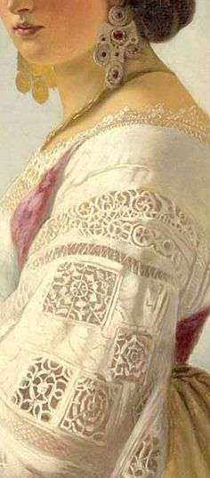 Carl Timoleon von Neff (1804-1877), Portrait of a Young Lady, detail