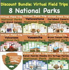 Take your learning out of the classroom with virtual tours around the United States to the top 8 National Parks.  Students can explore with guided VR and 360 tour as well as view live cams and learn as if they were actually at the park.  As they explore activities are created (multiple activities per trip) so that students are digging deeper and deepening their learning and time at each virtual site.  Get all 8 trips for the price of 5 and only 10 dollars a huge discount! Teaching Schools, Elementary Schools, Teaching Resources, Grand Canyon National Park, National Parks, Secondary Resources, Virtual Field Trips, Google Classroom, Summer Activities