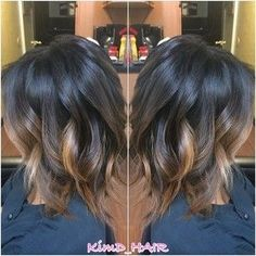 I'd want the balayage to fade to a drk brwn but love the color for my shorte… – Dark Hair Ombré Hair, Hair Day, Medium Hair Styles, Short Hair Styles, Hair Color And Cut, Hair Colour, Balayage Hair, Dark Balayage, Reverse Balayage