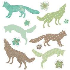Fox Silhouette Shapes in Green and Brown with Flower Digital Clip Art   CollectiveCreation via Etsy