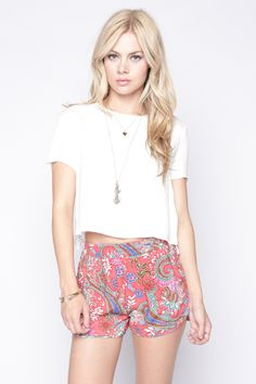 90s Lullaby - GAYLE RED SHORTS, $18.90 (http://www.90slullaby.com/shop/shorts-now/gayle-red-shorts/)