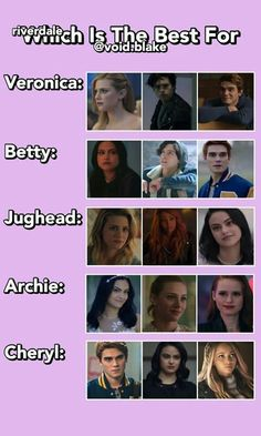 best for veronica:archie archie:veronica betty:jughead jughead:betty cheryl:toni Riverdale Quiz, Riverdale Poster, Riverdale Quotes, Riverdale Archie, Riverdale Funny, Pll, Stranger Things, Riverdale Betty And Jughead, I Dont Fit In