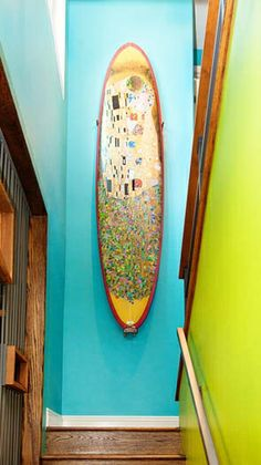 In Living Color: Surfboard wall art in Solana Beach. #BestSDHomes