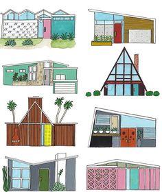 'Mid Century Modern Houses' Sticker by jenbucheli Mid Century Art, Mid Century Decor, Mid Century House, Mid Century Modern Design, Minimalist Architecture, Modern Architecture House, Modern Houses, Contemporary Houses, Pavilion Architecture