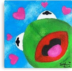 hippie painting ideas 180003316350823180 - Wholesome Kermit Painting Canvas Print Source by redbubble Cute Easy Paintings, Small Canvas Paintings, Funny Paintings, Easy Canvas Art, Mini Canvas Art, Easy Canvas Painting, Back Painting, Easy Art, Mini Paintings