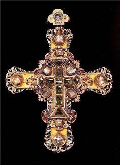 Cruzar. Fines del siglo 17. Oro, piedras preciosas, de fundición, grabado ...