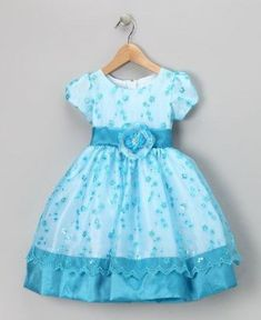 Take a look at this Turquoise Flower Sequin Organza Dress - Infant, Toddler & Girls by Birthday Girl: Party Dresses on today! Newborn Girl Dresses, Toddler Girl Dresses, Baby Dress, Little Girl Dresses, Girls Dresses, Toddler Girl Style, Toddler Girls, Kids Frocks, Girl Dress Patterns
