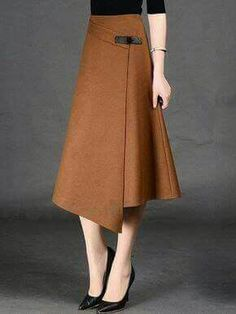 Spring Autumn Formal A-Line Long Skirt For Girls All-Match Solid Mid-Calf Bust Skirt Women's Timmiury Women Sexy Winter Wool Skirts High Waist A-line Casual Midi Skirt Gray/Khaki/Red Saia Longa 2017 Autumn Office Skirts skirt with buckle detail i hav Modest Fashion, Fashion Outfits, Womens Fashion, Fashion Trends, 30s Fashion, Fashion Vintage, Sexy Outfits, Style Fashion, Casual Outfits