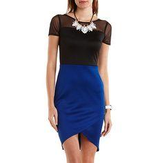 Mesh Yoke Color Block Bodycon Dress: Charlotte Russe