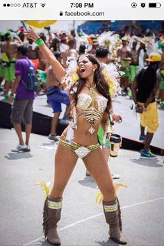 Solange Govia, creative /designer in her section Hawkeye for tribe 10 2014 way of the warrior trinidad carnival 2014