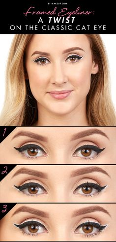 This tutorial puts a twist on the classic cat eye! This framed eyeliner look is sure to make your eyes stand out in a bold way. Here's how to get this winged liner look.