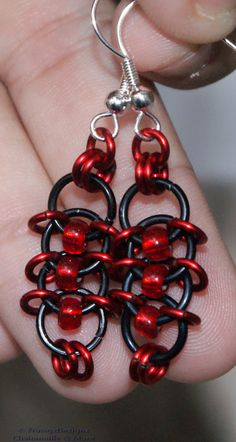 Chinese Temple Knot Chainmaille Goth Earrings - Picture only, link goes to a site you have to sign up for.