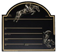 step up from laminate signs....  Updated link http://www.ooteman.nl/stable-paddock/stable/stable-plates/stable-plate-jumping  Dutch site... all in Euros