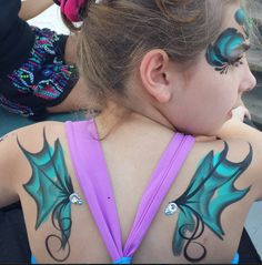 Fantasy fairy/dragon wings! one stroke face painting body art.