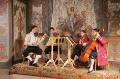 """Mozarthaus Concert in Vienna at Sala Terrena Chamber music concert with the """"Mozart Ensemble""""- String Quartet. We play in the oldest concert hall in Vienna, the """"Sala Terrena"""" dressed in original historical costumes.Concert in the house of Mozarts first apartment in Vienna, part of the monastery of the """"German Teutonic Order"""". Mozart lived and worked here for Archbishop Colloredo in the year 1781.The """"Sala Terrena"""" with its beautiful frescos is the oldest concert hall in Vienn..."""