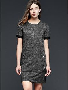 I should have one dress, right? This looks super cute with leggings. Add booties for date night, vans for day. Zipper shift dress   Gap