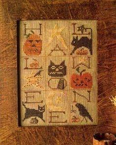 Primitive Cross Stitch Pattern  A Halloween by FiddlestixDesign, $7.00