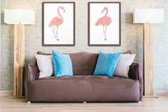 Flamingo Art Print Pink Home Decor Tropical Wall Art Beach