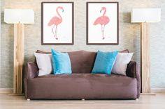 Flamingo Art Print Pink Home Decor Tropical Wall Art Beach