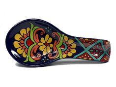 "Salmon, Yellow and Cobalt Blue Mexican Talavera Style Ceramic Spoon Rest -- ""Grand Garland"""