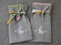 sew cute linen bags with bias tape and cross stitched bunnies!