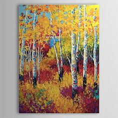 Hand Painted Oil Painting Landscape Yellow Forest 1303-LS0260 – USD $ 52.77