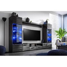 Interior design: wanted modern entertainment center modica 65 tv stand wall unit with led modern Modern Tv Room, Modern Tv Wall, Modern Living, Modern Contemporary, Floating Entertainment Center, Tv Entertainment Centers, Entertainment Products, Entertainment Furniture, 65 Tv Stand