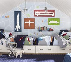 one idea for furniture placement in a shared bedroom: place twin beds facing one another on a wall