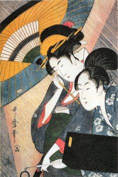 "#Utamaro--2 Beauties Under an UmbrellaHis work reached Europe in the mid-nineteenth century, where it was very popular, enjoying particular acclaim in France. He influenced the European Impressionists, particularly with his use of partial views and his emphasis on light and shade. The reference to the ""Japanese influence"" among these artists often refers to the work of Utamaro."