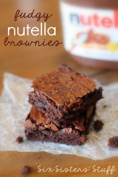 These Fudgy Nutella Brownies are quite possibly the best brownies I've ever eaten! | SixSistersStuff.com