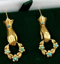 Victorian 15 Carat, Gold Hand Pendant Earrings With Turquoise, Ca. Victorian Jewelry, Antique Jewelry, Vintage Jewelry, Victorian Gold, Pendant Earrings, Drop Earrings, Hand Jewelry, Diy Jewelry, Unusual Jewelry