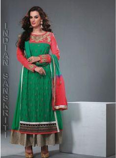 Delightful green & pink georgette based #anarkali with zari, rehsam & lace work