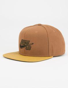 Nike SB Gum Pro snapback hat. Stitched applique Nike SB logo detail on front. Contrast faux leather bill. Adjustable snapback. 100% polyester. Imported.
